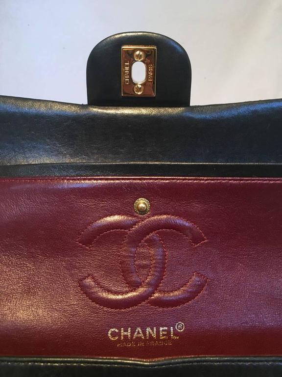 Chanel Black 9inch 2.55 Double Flap Classic Shoulder Bag For Sale 4