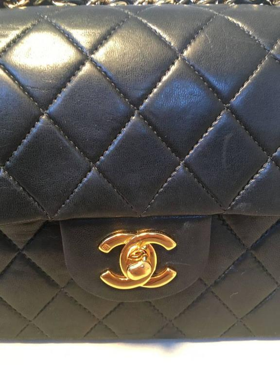 Chanel Black 9inch 2.55 Double Flap Classic Shoulder Bag For Sale 5