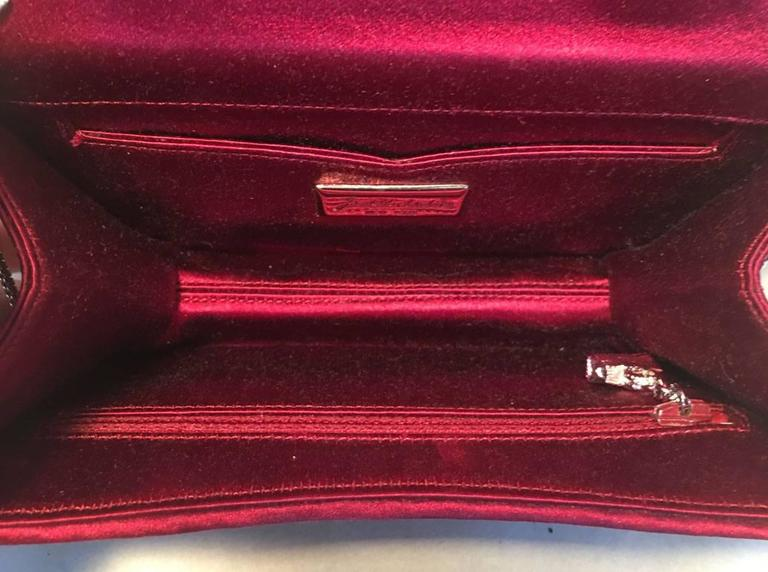 Judith Leiber Dark Red Satin Silk and Swarovski Crystal Evening Bag Clutch For Sale 1