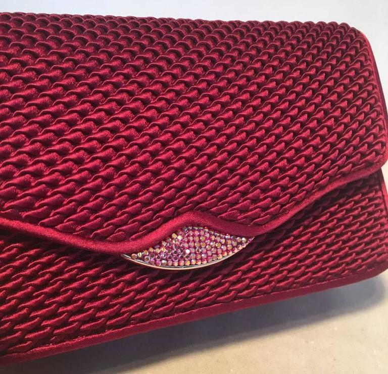 Judith Leiber Dark Red Satin Silk and Swarovski Crystal Evening Bag Clutch For Sale 2