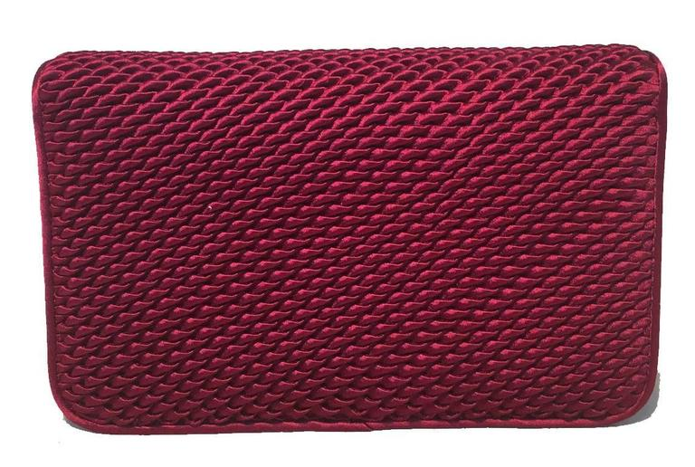 Judith Leiber Dark Red Satin Silk and Swarovski Crystal Evening Bag Clutch 3