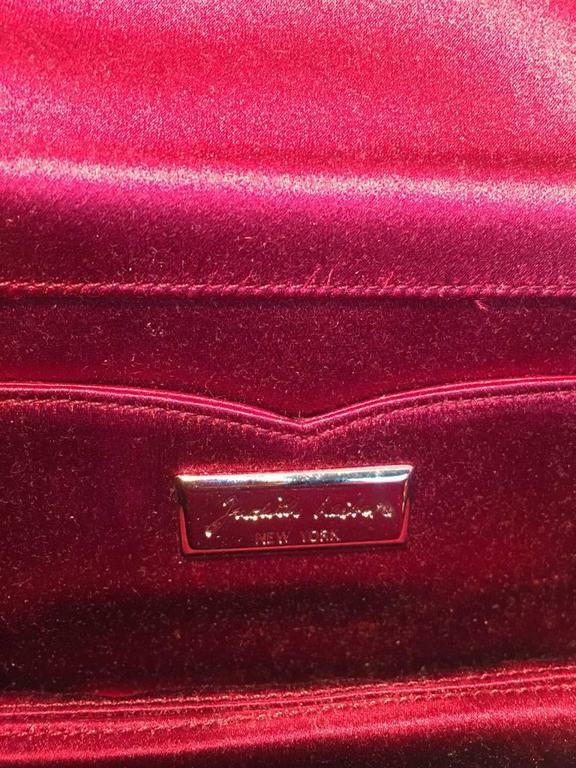 Judith Leiber Dark Red Satin Silk and Swarovski Crystal Evening Bag Clutch For Sale 3