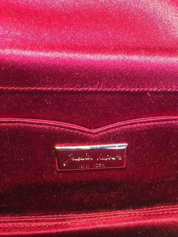 Judith Leiber Dark Red Satin Silk and Swarovski Crystal Evening Bag Clutch 8