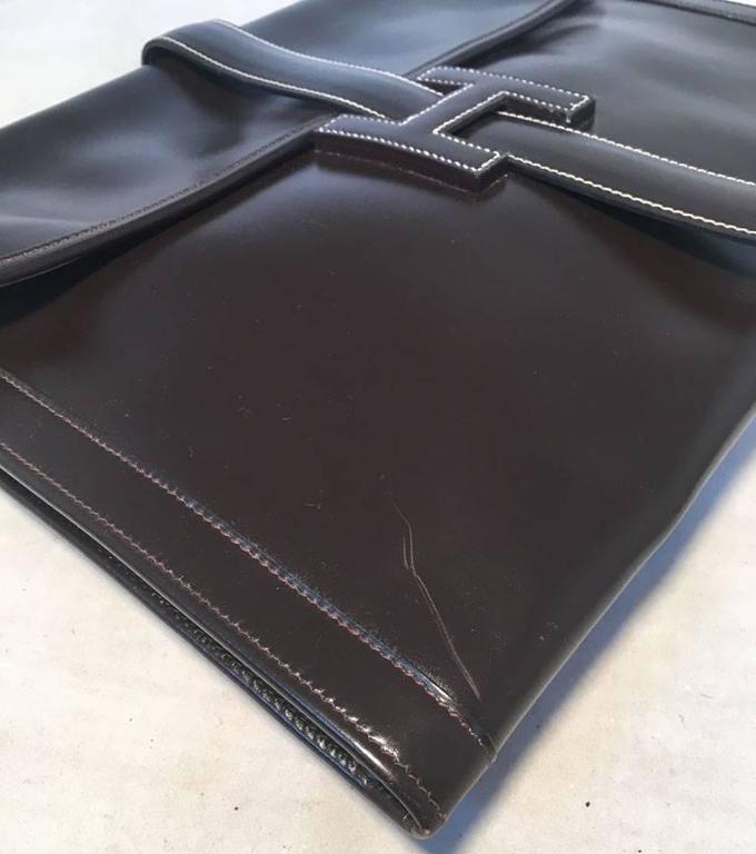 Hermes Vintage Brown Box Calf Leather Jige Clutch For Sale 4
