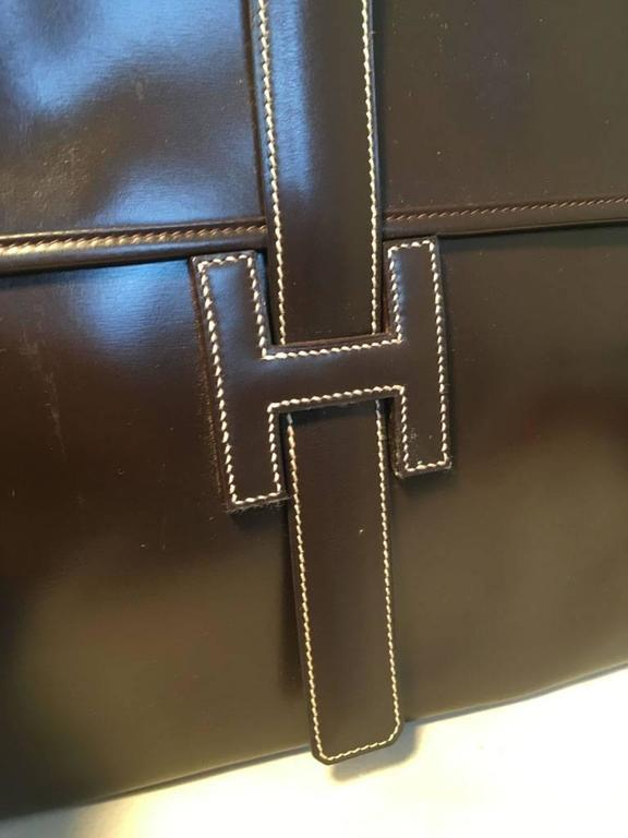 Hermes Vintage Brown Box Calf Leather Jige Clutch For Sale 1