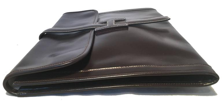 Hermes Vintage Brown Box Calf Leather Jige Clutch In Good Condition For Sale In Philadelphia, PA