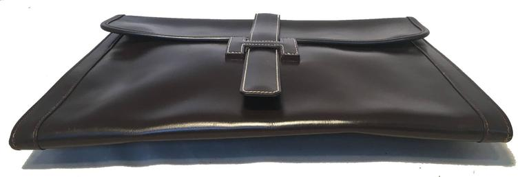 Black Hermes Vintage Brown Box Calf Leather Jige Clutch For Sale