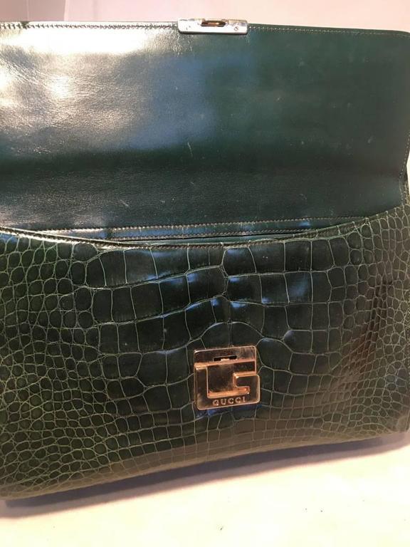 Gucci Vintage Green Alligator Shoulder Bag 4