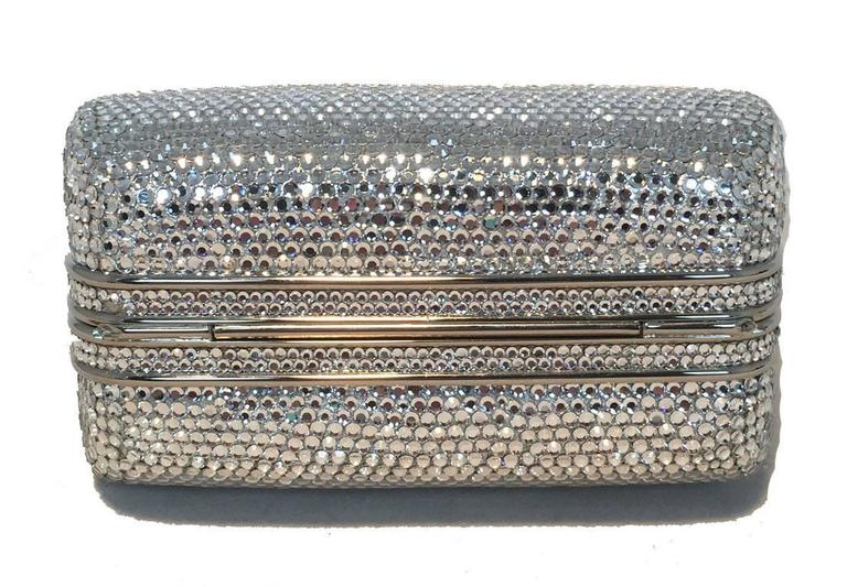 Judith Leiber Silver Swarovski Crystal Mini Purse Minaudiere Evening Bag z9lTnJo