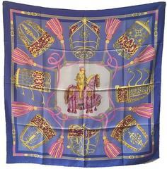 RARE Hermes Vintage Les Muserolles Silk Scarf in Purple
