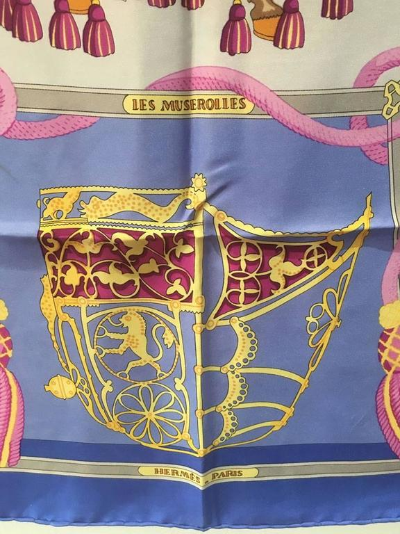Hermes Vintage Les Muserolles Purple Silk Scarf  In Excellent Condition For Sale In Philadelphia, PA