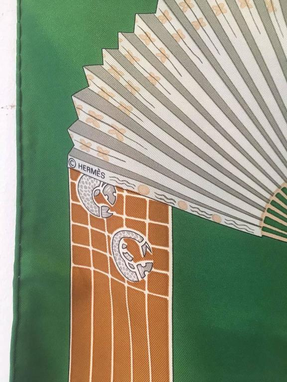 Hermes Vintage Kimonos et Inros Silk Scarf in Green  For Sale 2