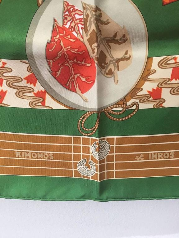 Women's or Men's Hermes Vintage Kimonos et Inros Silk Scarf in Green  For Sale
