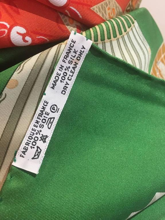 Hermes Vintage Kimonos et Inros Silk Scarf in Green  For Sale 1