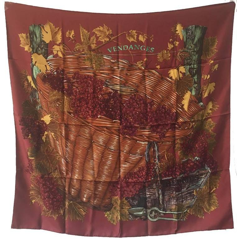 Hermes Vendanges Silk Scarf in Dark Red 1