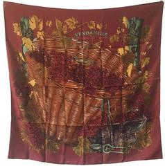 Hermes Vendanges Silk Scarf in Dark Red