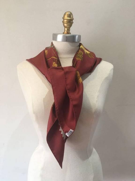 Hermes Vendanges Silk Scarf in Dark Red 2
