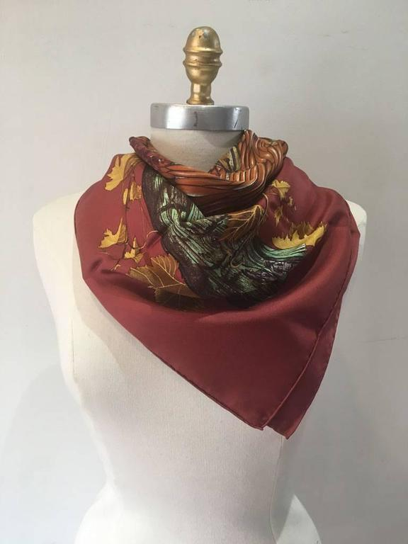 Hermes Vendanges Silk Scarf in Dark Red 3
