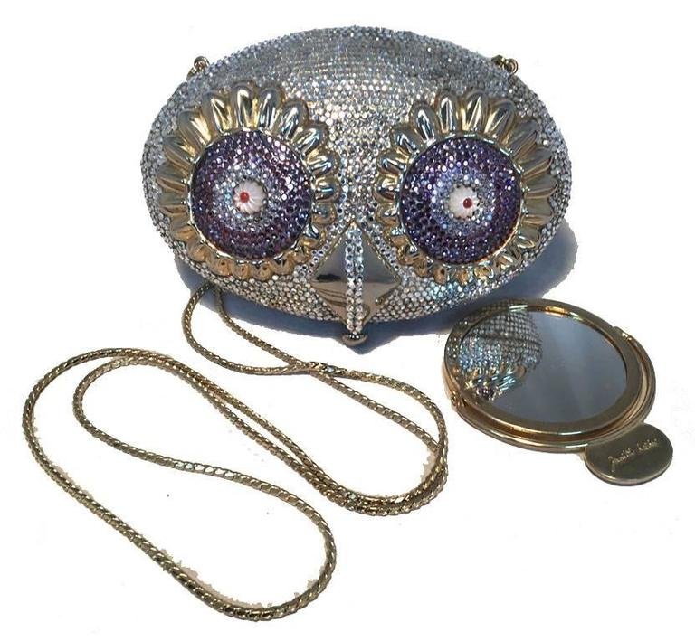 Women's RARE Judith Leiber Swarovski Crystal Owl Head Minaudiere Evening Bag For Sale