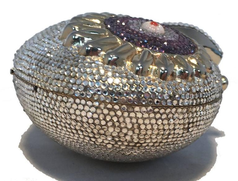 Gray RARE Judith Leiber Swarovski Crystal Owl Head Minaudiere Evening Bag For Sale
