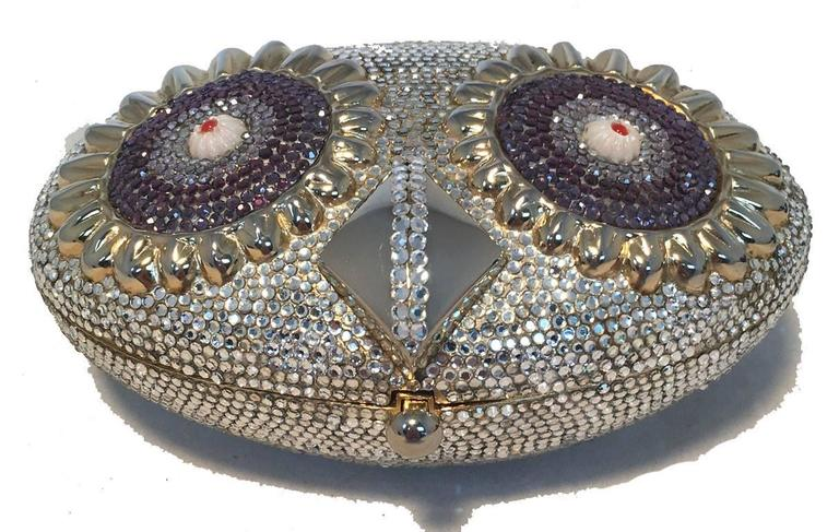 RARE Judith Leiber Swarovski Crystal Owl Head Minaudiere Evening Bag For Sale 3