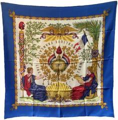 Hermes 1789 Vintage Liberte Egalite Fraternite Blue Silk Scarf