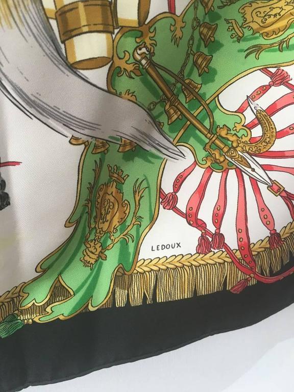 Hermes Caparacons de la France et de l'inde Silk Scarf in Black For Sale 2
