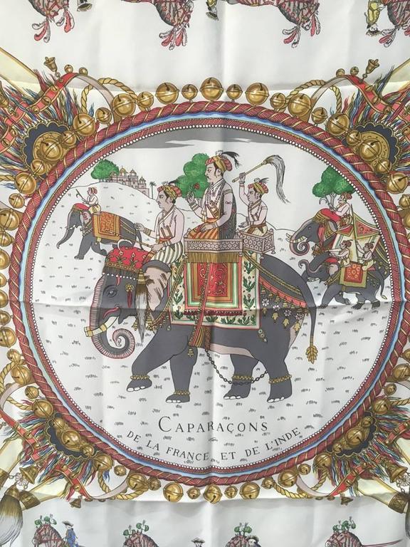 Hermes Caparacons de la France et de l'inde Silk Scarf in Black For Sale 4