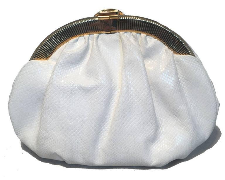 Gray Judith Leiber Vintage White Lizard Leather Clutch  For Sale