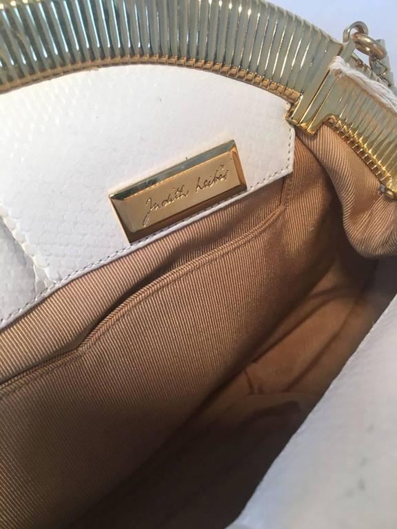 Judith Leiber Vintage White Lizard Leather Clutch  For Sale 3
