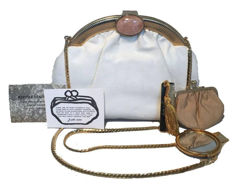 Judith Leiber Vintage White Lizard Leather Clutch  For Sale 4
