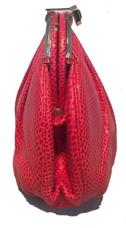 Judith Leiber Vintage Red Lizard Leather Clutch For Sale 1