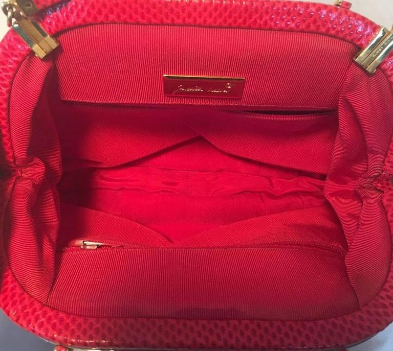 Judith Leiber Vintage Red Lizard Leather Clutch For Sale 2
