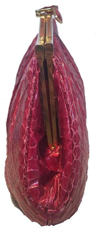 Judith Leiber Vintage Maroon Rose Snakeskin Clutch  In Good Condition For Sale In Philadelphia, PA