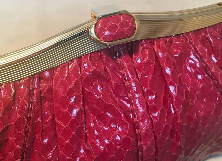 Judith Leiber Vintage Maroon Rose Snakeskin Clutch  For Sale 3