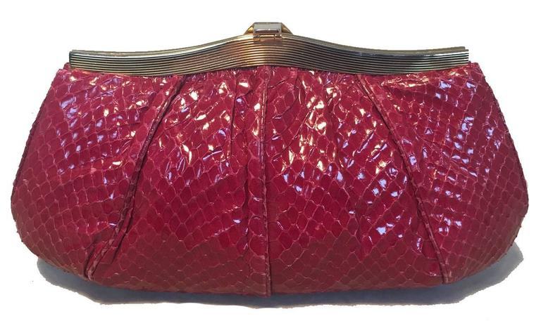 Brown Judith Leiber Vintage Maroon Rose Snakeskin Clutch  For Sale
