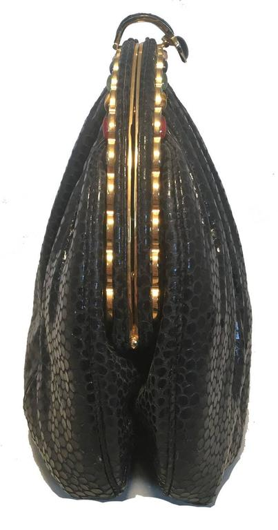 Judith Leiber Vintage Black Lizard Leather Clutch 4