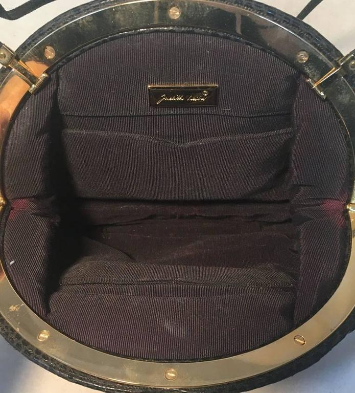 Judith Leiber Vintage Black Lizard Leather Clutch 8