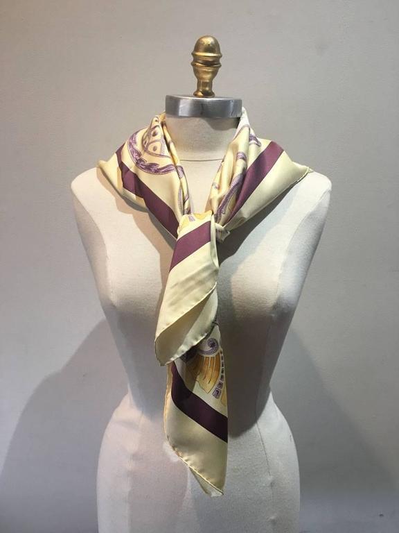Brown Hermes Vintage Cheval Turc Silk Scarf, circa 1960s For Sale