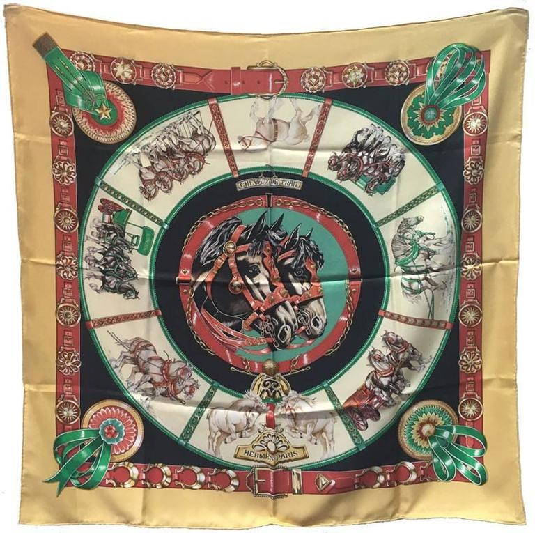 Hermes Vintage Chevaux de Trait Yellow Silk Scarf