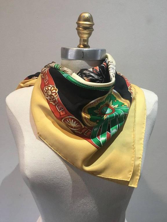 Beige Hermes Vintage Chevaux de Trait Yellow Silk Scarf  For Sale