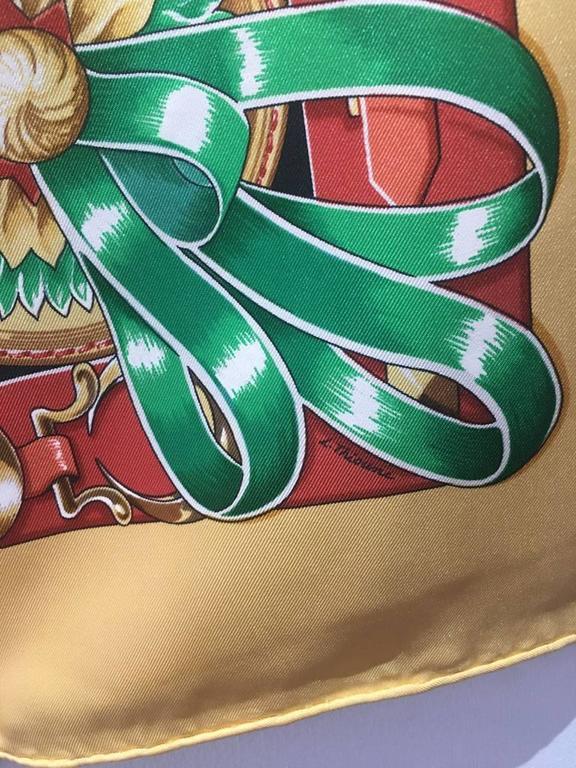 Women's or Men's Hermes Vintage Chevaux de Trait Yellow Silk Scarf  For Sale