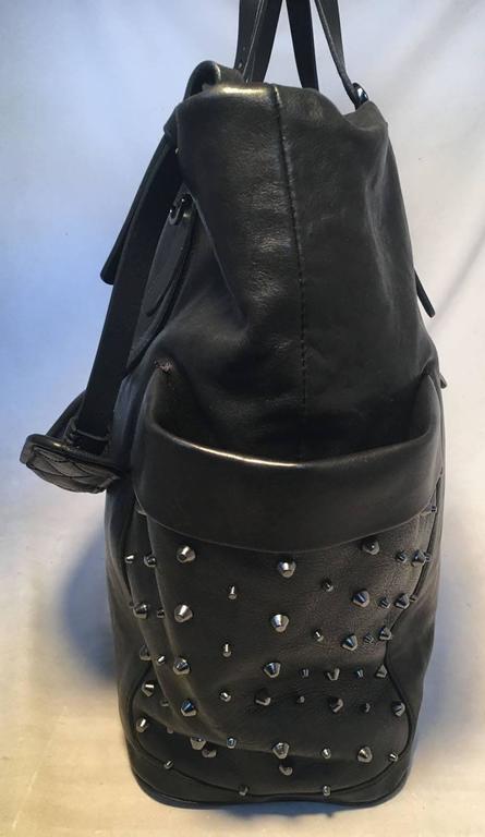 Jimmy Choo Black Leather Studded Shoulder Bag Tote 4