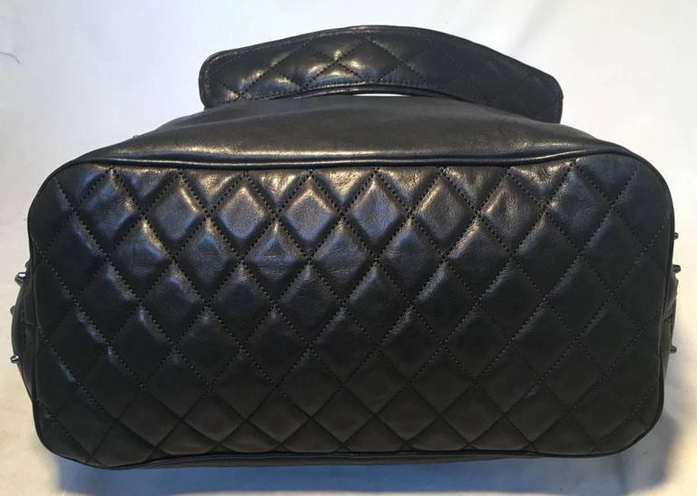 Jimmy Choo Black Leather Studded Shoulder Bag Tote 5