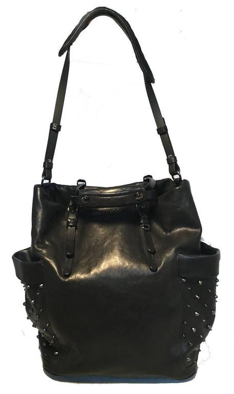 Jimmy Choo Black Leather Studded Shoulder Bag Tote 3