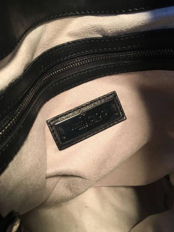 Jimmy Choo Black Leather Studded Shoulder Bag Tote 7