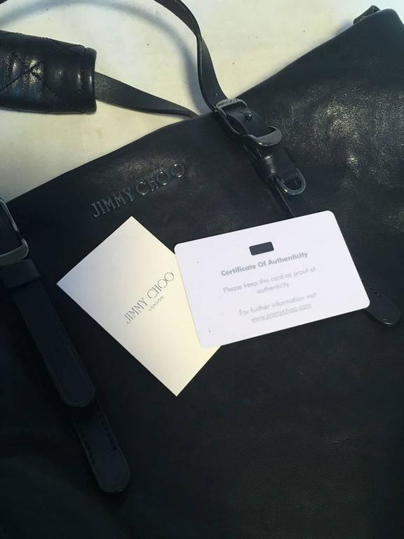 Jimmy Choo Black Leather Studded Shoulder Bag Tote 9