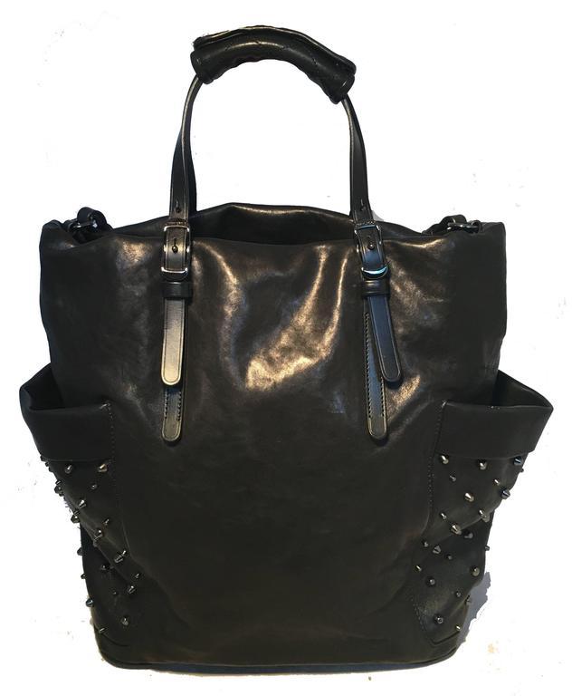 Jimmy Choo Black Leather Studded Shoulder Bag Tote 2
