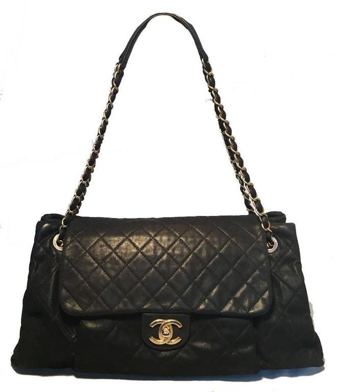 Chanel Black Quilted Leather Pleated Pocket Flap Shoulder Bag For Sale At 1stdibs