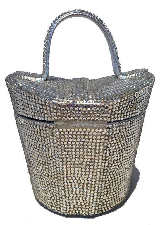 Gray Judith Leiber Vintage Swarovski Crystal Basket Evening Bag For Sale